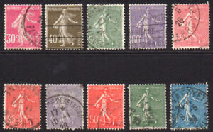 France 10 Sower Stamps c1924-26 Used (89)