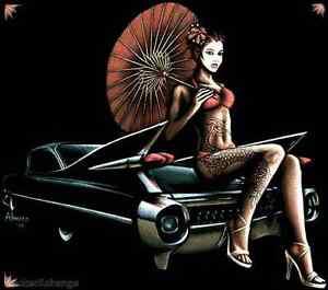 Cadillac Geisha Girl Sticker Decal Art Marco Almera MA72