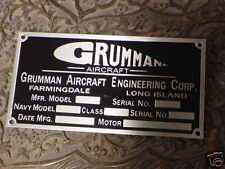 WW 2 Grumman Aircraft data plate acid etched aluminum 1940s