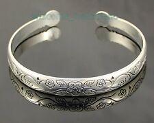 FreeShip 2pcs / a pair Tibetan Silver Tone Carved Flower Bracelets & Bangles P41