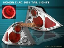 Fit For 01-03 HONDA CIVIC TAIL LIGHTS CLEAR HALO 2D 02 LAMPS