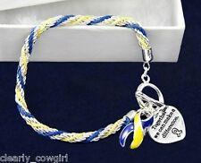 #9040 -- BLUE & YELLOW AWARENESS RIBBON BRAIDED ROPE HEART CHARM TOGGLE BRACELET