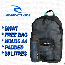 RIPCURL BACKPACK BLACK & BLUE MENS / BOYS RUCKSACK SPORTS SCHOOL + FREE BAG