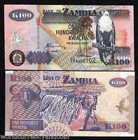 ZAMBIA 100 KWACHA P38 2009 BIRD BUFFALO VICTORIA FALLS UNC AFRICA MONEY BANKNOTE