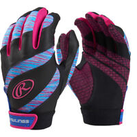 Rawlings Eclipse Youth Girl's Fastpitch Softball Batting Gloves - Black & Pink