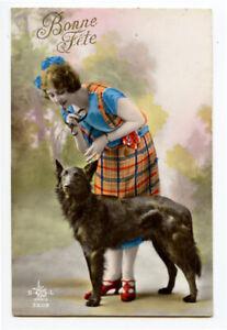 1920s Pretty Young LADY w/ BLACK DOG RPPC photo postcard