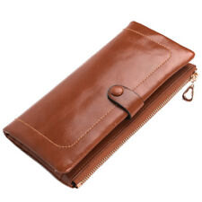 Genuine Leather Women Wallet Long Purse Retro Multi-Cards Holder Clutch