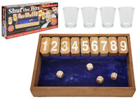 Wooden Vintage Shut The Box Pub Drinking Game With Shot Glasses Traditional