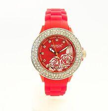 Avalanche Uhr DIVA 36mm Rot mit Rose + Steinen AVM-1015S-RD Damenuhr NEU