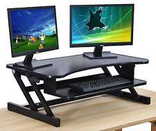 Black Standing Desk - Height Adjustable Dual Monitor Desktop Converter - Standup