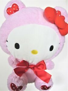 "Sanrio Hello Kitty Plush Toy Pink Bear Costume Valentine Red Heart Dress 12"" New"