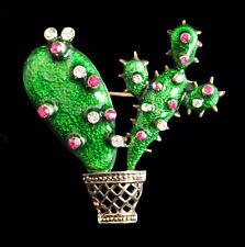 Brosche Kaktus im Topf, grünes Emaille, bunte Kristalle, goldfarbenes Metall