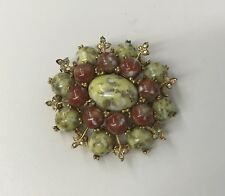 VINTAGE HAR DRAGONS EGG PIN BROOCH RARE 2 TONE STONES WITH AB CRYSTALS