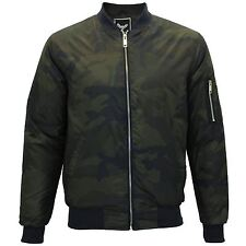 Mens Brave Soul Herrara Camo Print Camouflage Military MA1 Bomber Jacket