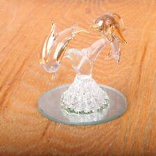 Glass Dolphins Jumping Mirror Bas Decorative Art Home Decor Figurine Decorative