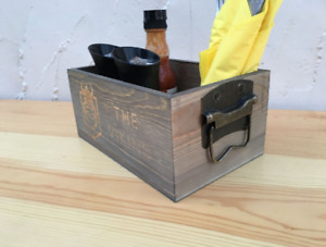 Condiment Caddy for Restaurant Cafe Table - Branded Wooden Caddies Logo