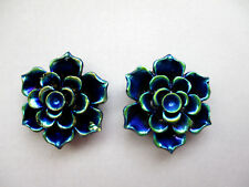 PEACOCK BLUE FLOWER RESIN  STUD EARRINGS 20MM