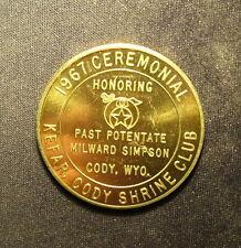 New listing Cody Wyoming Kalif Temple Masonic 1967 Medal