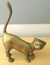 Vintage Brass Cat Figurine with Hmp 1/20 12K Necklace Charm