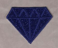 Embroidered Glitter Sparkle Sapphire Blue Diamond Gem Applique Patch Iron On Sew