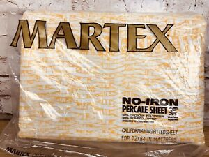 Vintage Martex California King Fitted Sheet Yellow/ Gold Basket Weave Print NOS