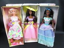 Lot of 3 AVON SPRING PETALS TEA PARTY BLOSSOM Barbie Dolls AA
