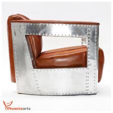 AICRCRAFT Vintage Design Ledersessel Retro Echtleder Lounge Sessel Braun