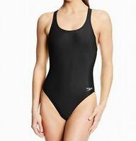 Speedo Black Women's Size 12 One-Piece Cutout-Back Solid Swimwear $39 #408