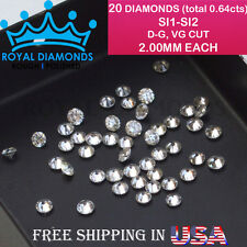 20 Round Brilliant cut Diamonds Loose Natural Real Size-2.00mm SI D-G(white) VG