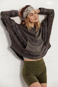 Free People Sweatshirt Hoodie Peacemaker Lace Mesh Crochet Gray Purple XS NEW