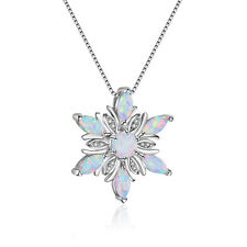 Gorgeous Shiny Flower Rainbow White Fire Opal Gems Solid Silver Necklace Pendant