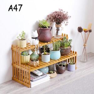 2 Tier Plant Flower Pots Stand Home Display Storage Rack Desk Shelf Bamboo