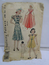 Vintage 1940's or 50's Simplicity Sewing Pattern-Girls Sheer Overlay Party Dress