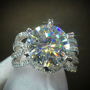Gorgeous Women Rings Round Cut Cubic Zirconia Jewelry 925 Silver Rings Size 6-10
