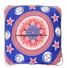 Sun Moon Mandala Cotton Square Floor Pillow Case Ethnic Indian Box Cushion Cover