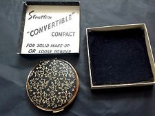 Vintage Gold & Black Enamel Stratton Convertible Compact Boxed Puff Sifter Pouch