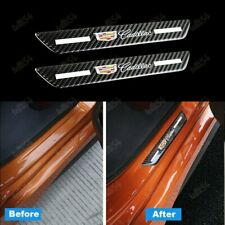 2PCS Carbon Car Rear Door Welcome Plate Sill Scuff Cover Decal Sticker Cadillac