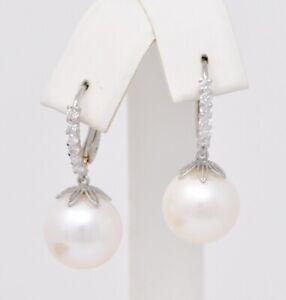 14k White gold dangling Diamond south sea pearl earring earrings huggie  0.50 ct
