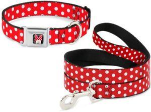 Buckle Down Seatbelt Dog Collar or Leash Minnie Mouse Disney Polka Dot Made USA