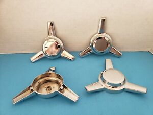 5- CAPS BOLT ON /STUD MOUNT 3 BAR  SPINNERS CHROME PLATED   RECESSED TOP  1 3/4