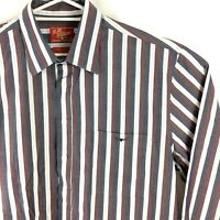 RM Williams XXL Long Sleeve Shirt Striped Faded Look 2XL White Maroon & Navy