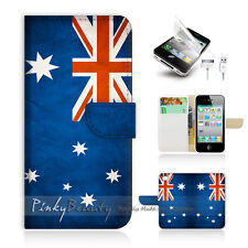 ( For iPhone 4 / 4S ) Wallet Case Cover! Australia OZ Flag P0012