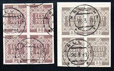 Estland Nr. 3 o - 2 Farben im 4er Block (1301)