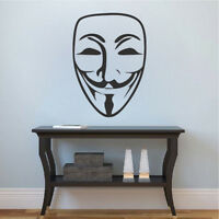 Guy Fawkes Wall Decal V For Vendetta Wallpaper Mural Vinyl Face Mask Design, g62