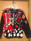 Handmade by Child Woman Medium Ugly Christmas Sweater Party Fleece Zip Up Jacket