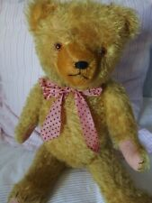 ours ancien en peluche bourré de paille couleur jaune or