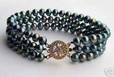 Akoya Cultured Pearl Bracelet Pb80 8'' 3 Rows charming 6-7Mm Black