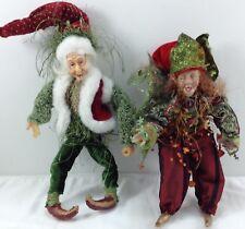 "Christmas Plush Elves 2 Stuffed Ornaments Christmas Decoration 8"" Elf Doll"