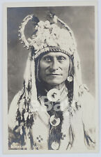 Native American Indian Chief Real Photo Postcard Canadian Pacific Railway RPPC
