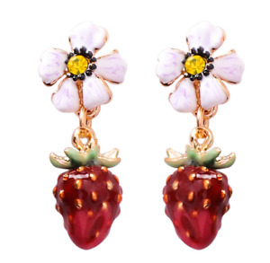 Earring Women Jewelry free shipping enamel Flower Strawberry Rhinestone